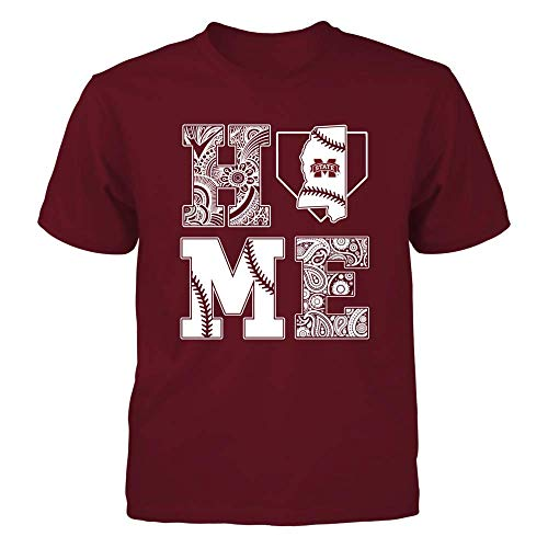 (FanPrint Mississippi State Bulldogs T-Shirt - Patterned Home Baseball - Youth Tee/Maroon/M)
