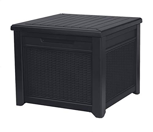 Keter 243576 Storage Cube Deck Box Rattan Resin Style, Grey