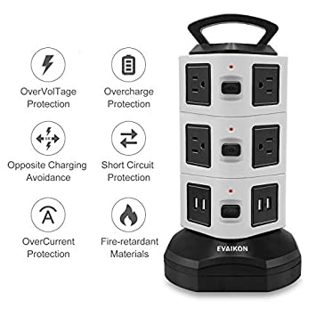 Power Strip Tower – EVAIKON Extension Cord with 10 Outlet 4 USB Ports 3000W 13A Surge Protector Electric Charging Station 6.5FT Wire Extension Universal Socket for Home Office