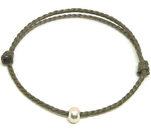 Asian Silver Bracelet (BUSABAN Asian Handmade Bracelet 925 Silver Bead Double Gray Wax String)