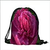 printing Drawstring Gift Bag Pink Peony for Travel,Family,Dorm 15''W x 18.5''H