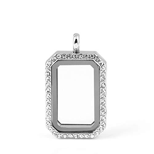 - Square Crystal Memory Glass Living Floating Locket Pendants | Floating Charms Locket | with Free Chains (Silvery Color)