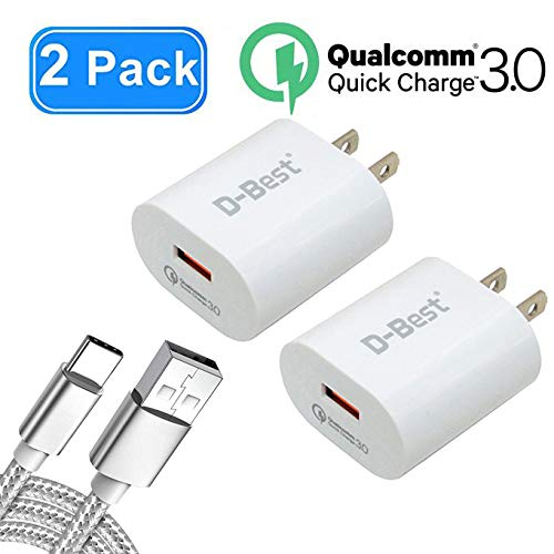 Quick Charge 3.0 Wall Charger 18W QC 3.0 Charger 2 Pack with 6.5ft USB Type C Cable 1Pack, Fast Charger Compatible with Samsung Galaxy S9/S9 Plus/Note 8/S8/S8 P/M9, HTC,LG and More(White)