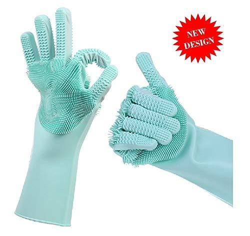 Guantes de silicona mágicos con estropajo, guantes de goma Magic Saksak resistentes al calor, reutilizables, guantes de...