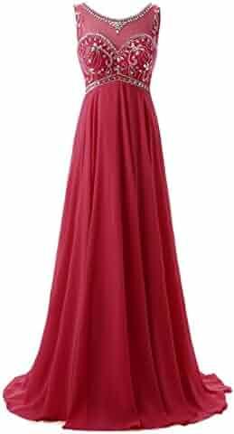 f011b9c9745 Callmelady Sheer Neck Beading Chiffon Long Prom Dresses Evening Gowns