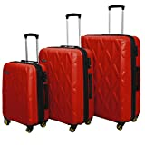 3 PC Luggage Set Durable Lightweight Hard Case Spinner Suitecase LUG3 SS505A RED