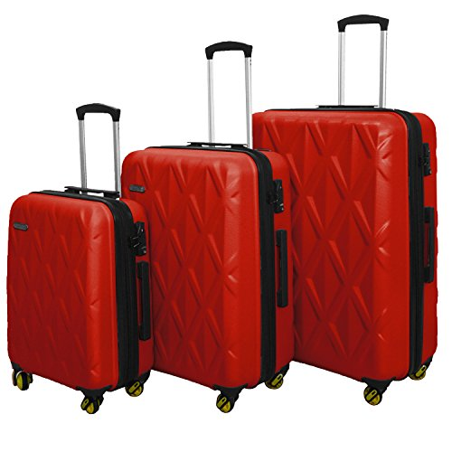 3 Piece Luggage Set Durable Lightweight Hard Case Spinner Suitecase LUG3 SS505A RED by HyBrid & Company