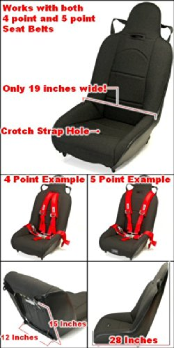 Black Narrow High Back Suspension Seat 19 Inches Wide For Older Sand Rails, Manx Dune Buggies Or Bug