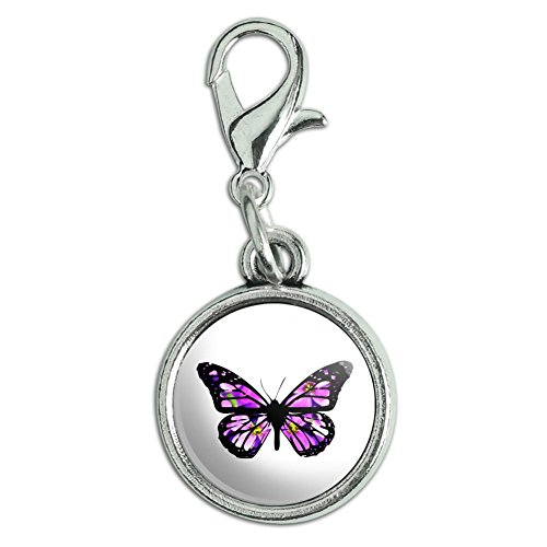Butterfly with Flowers Antiqued Bracelet Pendant Zipper Pull Charm with Lobster Clasp (Flower Zipper Pull)