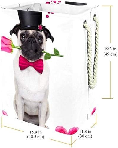 AFQHJ Jouets Panier de Rangement Puppy Love avec Rose Panier à Linge Panier de Rangement étanche avec poignées for la Maison Nursery College Dortoir