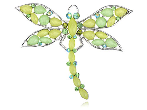 Beaded Dragonfly Pin (Alilang Elegant Light Green Tone Beaded Dragonfly Crystal Rhinestone Synthetic Peridot Pin Brooch)