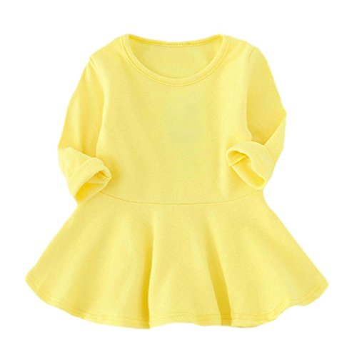 Long Sleeve Voile (Oksale Baby Girl O Neck Long Sleeve Candy Color Dress Princess Dress (3T, Yellow))
