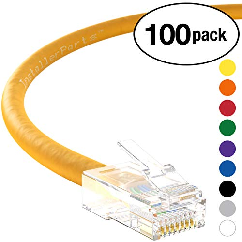 InstallerParts (100 Pack) Ethernet Cable CAT5E Cable UTP Non-Booted 4 FT - Yellow - Professional Series - 1Gigabit/Sec Network/Internet Cable, 350MHZ ()
