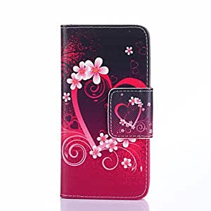 20150511 Heart Flowers Pattern PU Leather Full Body Case with Card Slots And Stand for Samsung Galaxy Alpha G850F