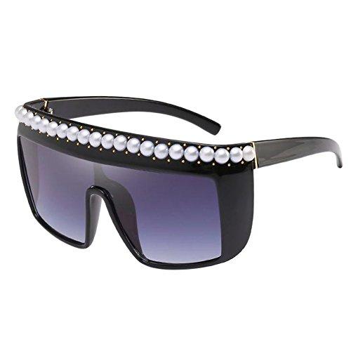 sol viento Estilo Decoración UV Lujo Marco Marco de Goggle Pearl Deylaying Polarizado grande Gafas prueba cuadrado Oversized Gafas de Geométrico Anti Negro a Gris Rivet q8OwF1X