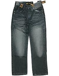 Boy's Straight Fit Dark Wash Mercerized Baked Denim Jeans Size: