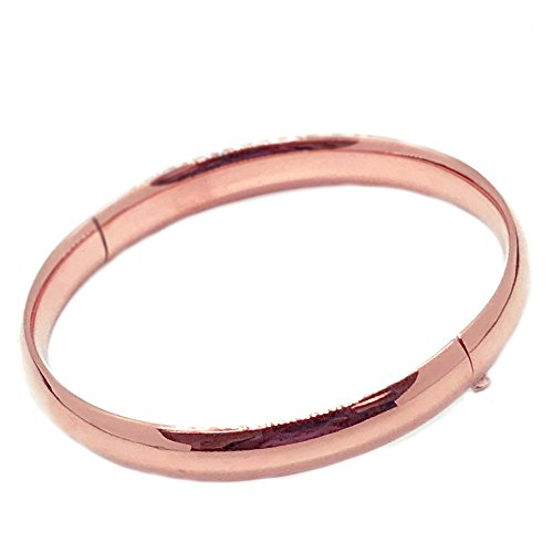 Ritastephens 14k Solid Rose Pink Gold Shiny Hinged Bangle Bracelet 5 Mm 7 Inches