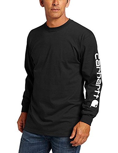 Carhartt Men's Signature Sleeve Logo Long Sleeve T-Shirt K231 (Black, LT)