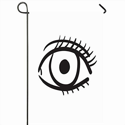 Ahawoso Garden Flag 12x18 Inches Eyes Black Hand Drawn Big Eye Bright Circle Drawing Emblem Eyeball Design Outdoor Seasonal Home House Yard Sign Double Sides Printed Banner (Eyebright Dark Circle)