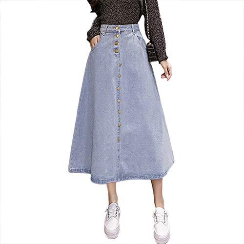 Crunchy Candy Denim Skirt Women Jeans Skirt Button Big Hem Casual High Waist Skirts Long for Women,Light Blue,M