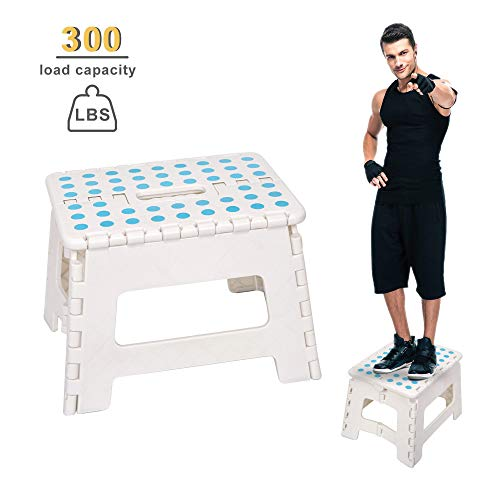 Dporticus Super Strong Folding Step Stool with Handle 300 LB Capacity for Adults, Toddlers and Kids, Kitchen, Garden, Bathroom ()