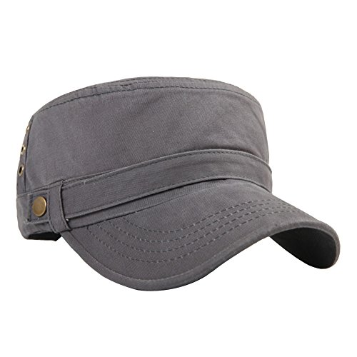 Men's Cotton Flat Top Peaked Baseball Twill Army Millitary Corps Hat Cap Visor (Gray-Three Holes)