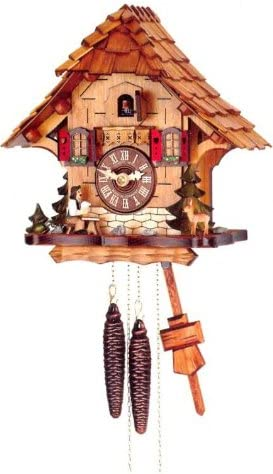 Original One Day Movement Cuckoo Clock with Moving Beer Drinker 10.5 Inch