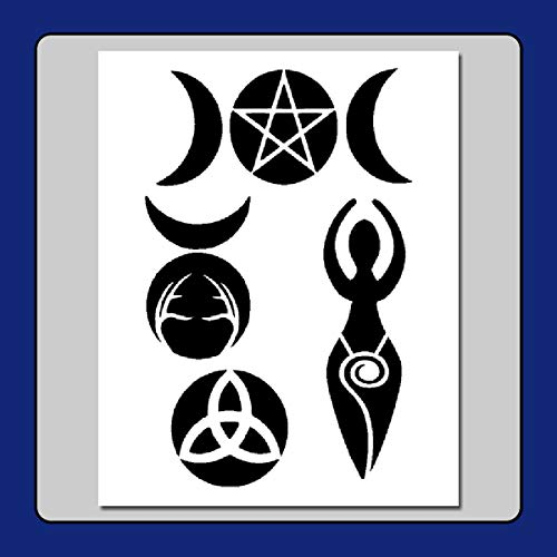 8 X 10 Wiccan/Witch Symbols Stencil Template Spiral Goddess, Horned God, Trquetra, Triple Moons, -