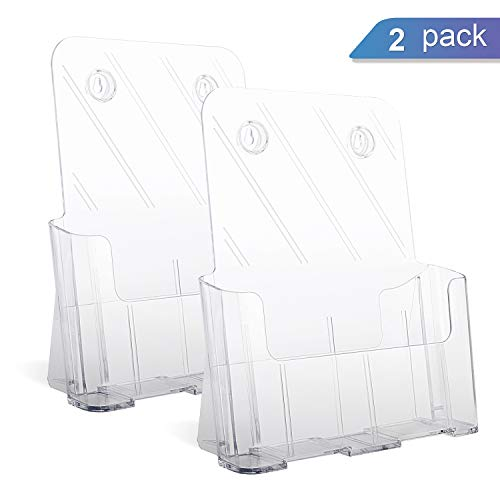 Ktrio Sign Holder Brochure Holder 8.5 x 11'' Wall Mount Flyer Holder Acrylic Brochure Holder Literature Holder Clear Acrylic Countertop Organizer Full Page 8.5 x 11'' 2Pack by KTRIO