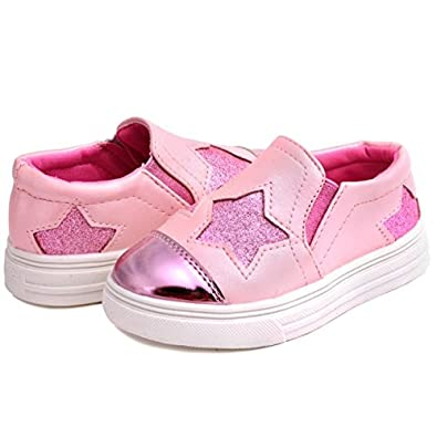UBELLA Kids Toddler Girls Glitter Sequins Stars Casual Slip-on Loafers Flats Sneakers Shoes