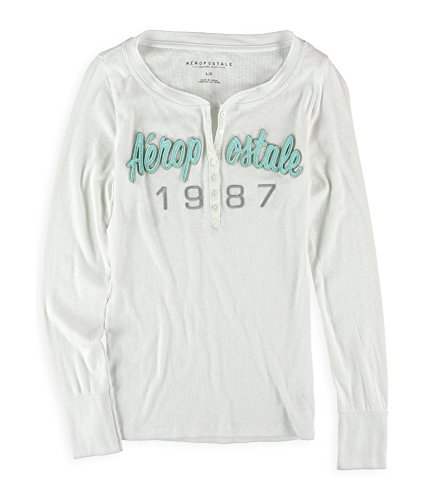 Aeropostale Womens Logo LS Henley Shirt White XS - Juniors from AEROPOSTALE