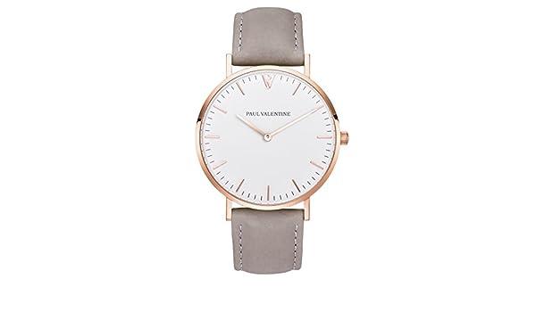 Paul Valentine | Marina Rose Gold gris | Mujer Reloj De Pulsera Con elegante diseño & atemporal y correa de piel gris: Amazon.es: Relojes