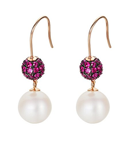 Epinki 18K Gold Earrings for Women Girls Natural Freshwater Pearl Earrings Pink Tourmaline by Epinki