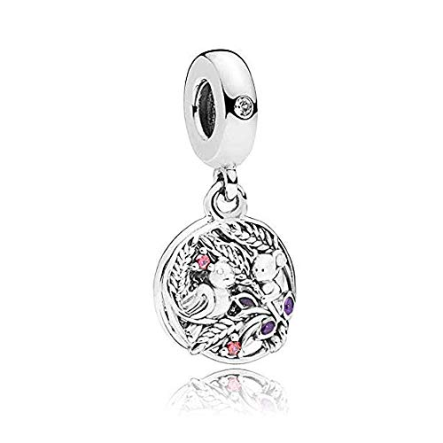 (Romántico Amor Always by Your Side Charms Bird Accompanying Bear on the Tree Silver Bead fit Pandora Bracelets)