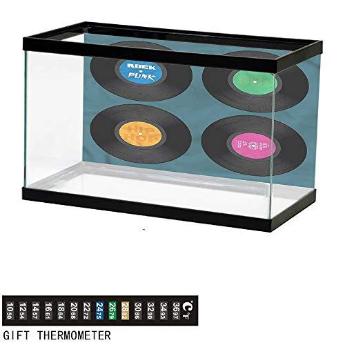 bybyhome Fish Tank Backdrop 90s,Music Vinyl Discs LP Rock Pop,Aquarium Background,36