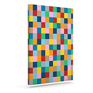 """Kess InHouse Project M """"Color Blocks Zoom"""" Outdoor Canvas Wall Art, 16 by 20-Inch"""