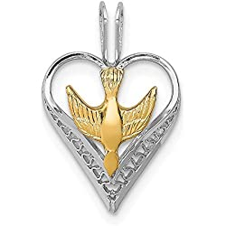 Sonia Jewels Sterling Silver & 18k Gold-Toned Dove Heart Pendant (12mm x 18mm)