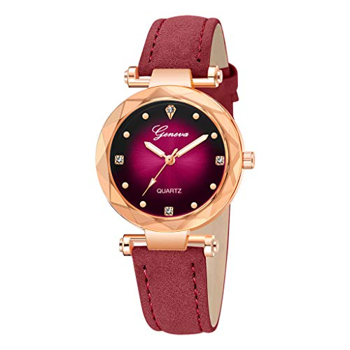 chenqiu Geneva Ladies Leather Watch, Ladies Waterproof Casual Crystal Quartz Star dial Purple Leather Strap