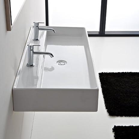 Scarabeo 8031/R 120B Two Hole Two Hole Bathroom Sink, 55u0026quot;