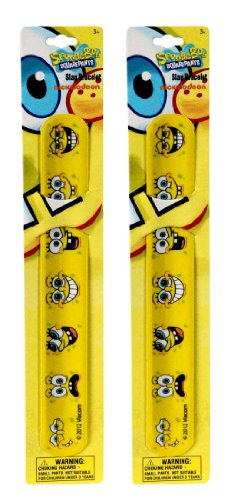 SOLD in 12 Pieces - New SPONGEBOP Squarepants Slap Bracelets Bands Toys Perfect for Birthday Party Favor Goodie -