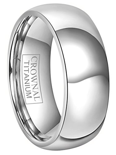 (CROWNAL 4mm/6mm/8mm Titanium Wedding Couple Bands Rings Men Women Dome Polished Comfort Fit Size 4 to 16 (8mm,6.5))