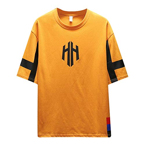 (Kekebest 2019 Summer Trendy Popular Shirts for Men,Blouse T-Shirts Vest Top Fashionable Solid Colour Short Sleeve Comfortable Baseball Hipster Hip Hop for Fitted Contrast Color)