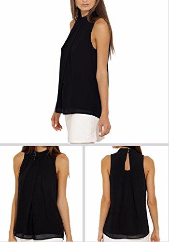 Mousseline QIYUN Tops Femmes Z Pliss Noir Manches Cou Chemises En Soie Dcontractes De Sans Mock qwZTFwX