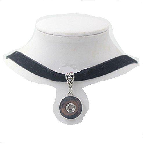 Black Silver Ginger Snaps Velvet Collar Choker Necklace