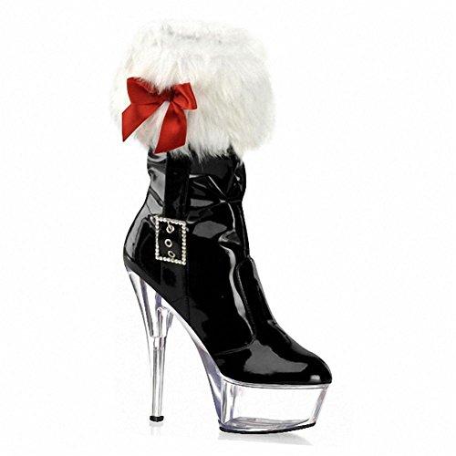 NVXIE Women's Ladies Short Low Christmas Boots Delight Sexy Super High Heel Belt Buckle Waterproof Artificial PU Fall Winter Stage Nightclub CRYSTALBLACK-EUR42UK85 8286EC7Q