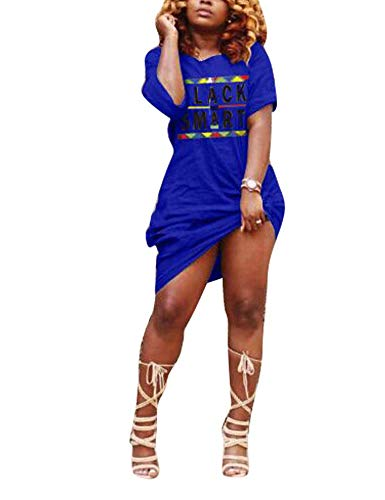 Women's Summer Color Block Half Sleeve Split Loose Shift Maxi Dress