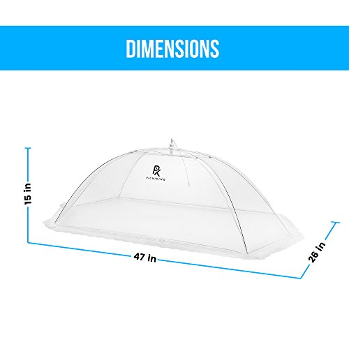 (5 Pack) Mesh Food Tents/Food Covers for Outdoors | 1 XL (49x27x17) & 4 Standard (17x17x9) | Fine Net Screen | 100% Fly Protection | Double Layer Skirt | Upgraded Rods by PicniKing (Image #2)