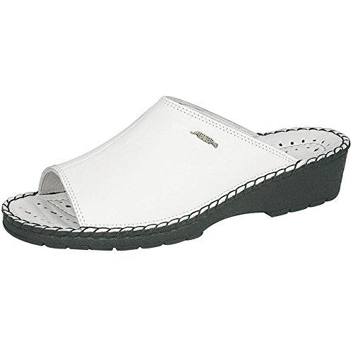 ABEBA Damen Berufsschuh Arbeitsschuh 1094 weiß mit schwarzer Sohle, Leder, Massagefußbett, antistatisch Weiß