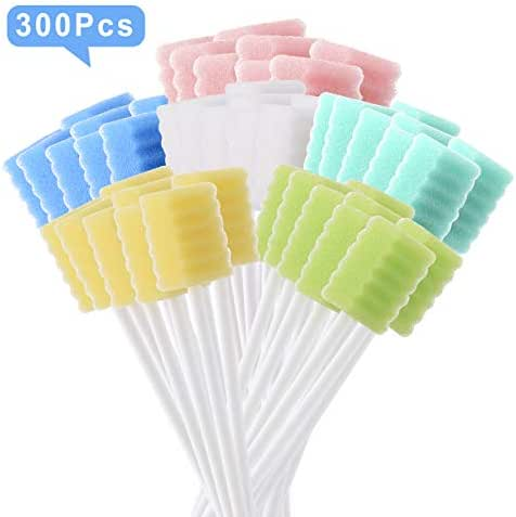 [Pack of 300] Oral Swab/Unflavored and Untreated Swabs/Disposable Sterile Mouth Swabs/Individually Wrapped Oral Swabs for Dental and Hygienic Purpose/Oral Care Swabs by JJ CARE