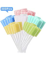 [PACK OF 300] Oral Swab/Unflavored and Untreated Toothettes/Disposable Sterile Mouth Swabs/Individually Wrapped Toothettes Oral Swabs for Dental and Hygienic Purpose/oral care swabs by JJ CARE